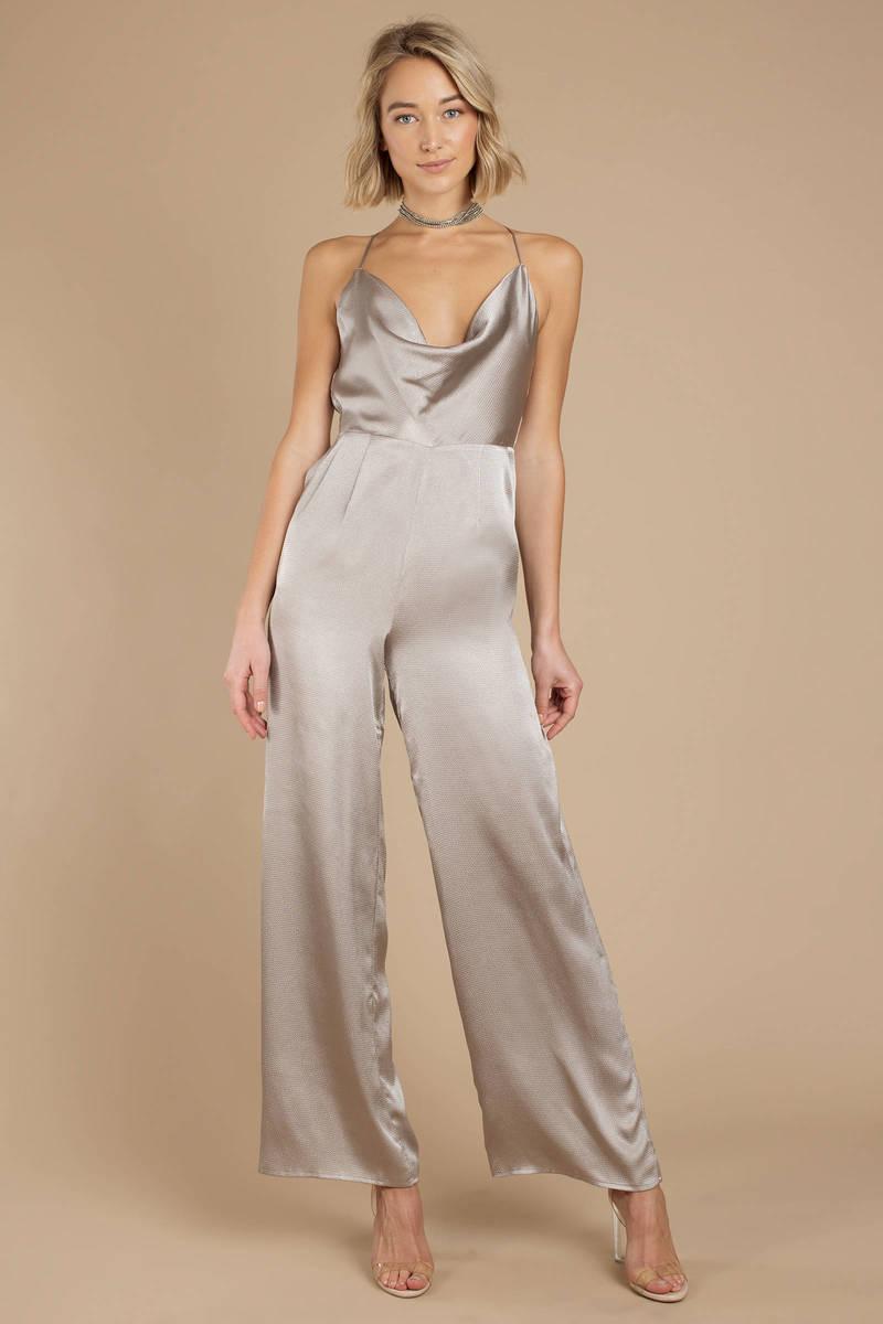 009572b71748 Grey Jumpsuit - Backless Jumpsuit - Grey Satin Halter Neck Jumpsuit ...