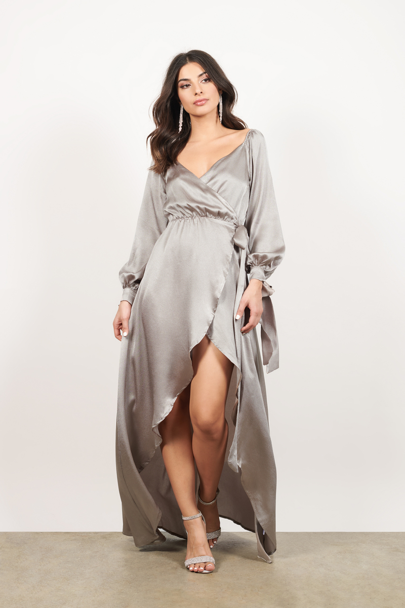 384ec7671bcf Silver Maxi Dress - Satin Drape Dress - Silver High Low Wrap Dress ...
