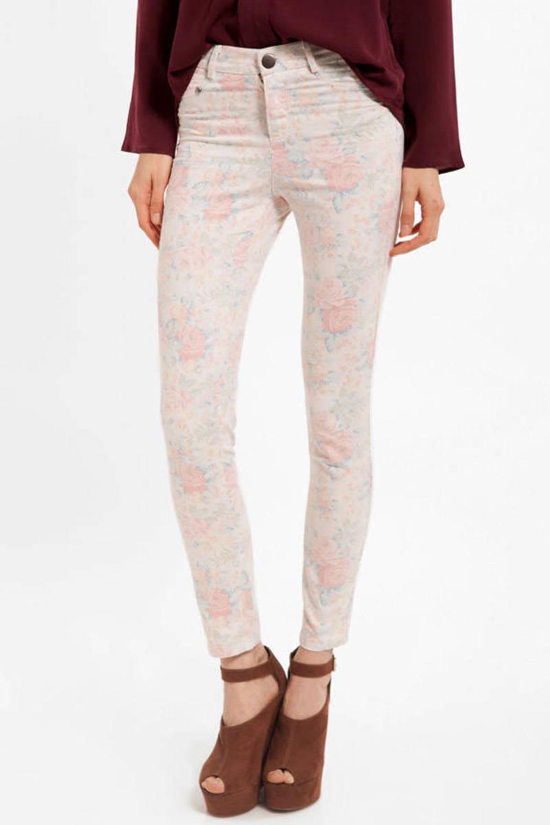 Rosalinda Pink And Blue Floral Print Skinny Pants