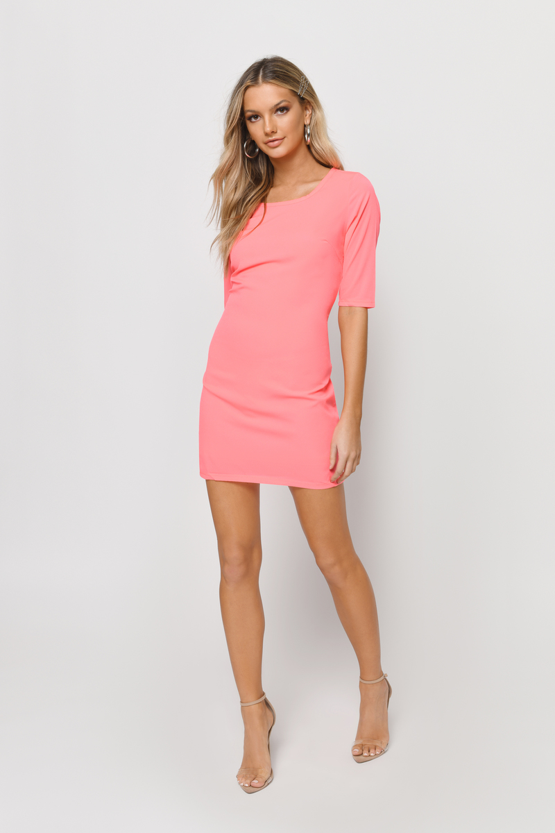 Cute Pink Bodycon Dress Cut Out Dress Bodycon Dress