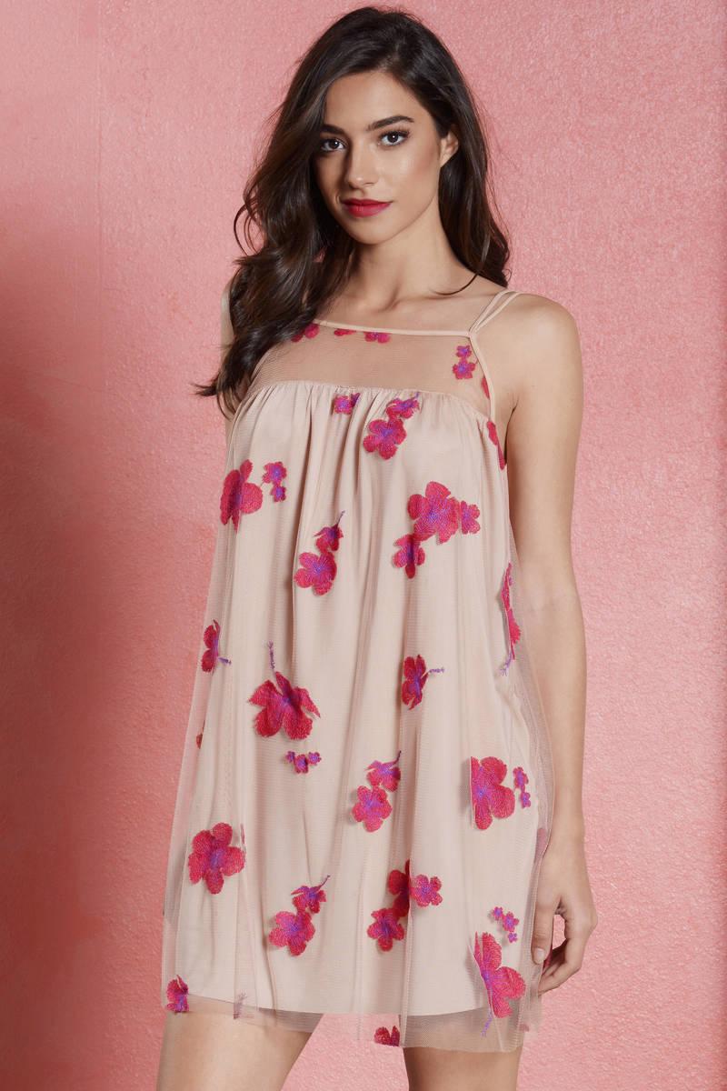 d2bc3beebb4c7 Cute Pink Skater Dress - Pink Dress - Mesh Dress - Skater Dress ...