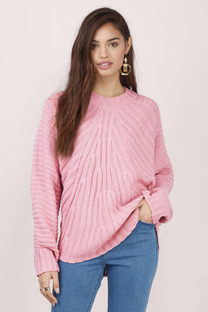 Pink Sweater - Pink Sweater - Knitted Sweater - $21 | Tobi US