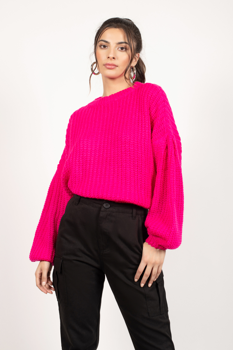 420c30452c1b83 Hot Pink Sweater - Knit Sweater - Hot Pink Bubble Sleeve Sweater ...