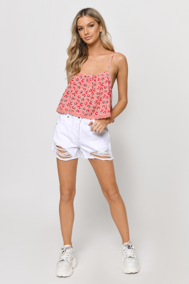 Crush On You Ivory Floral Floral Print Crop Top