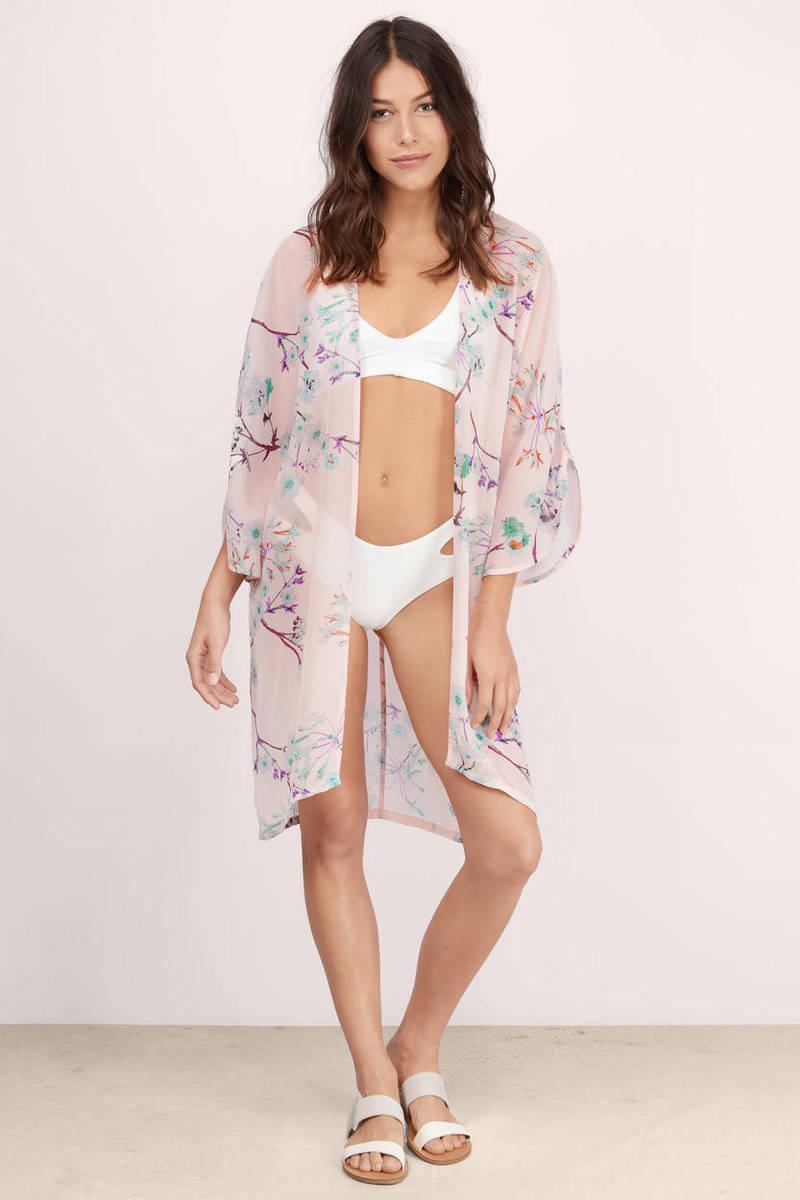 Dolphin Pink Floral Print Kimono