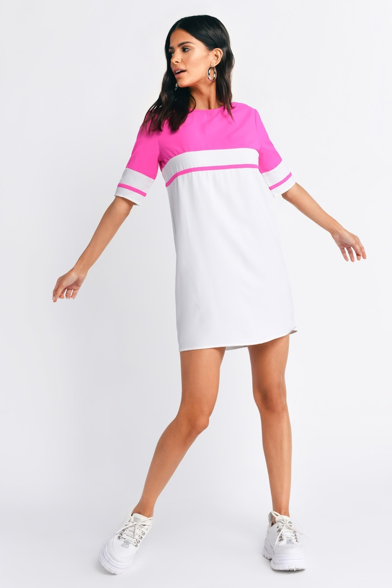 Pink & Ivory Dress - Pink Dress - Striped Swing Dress - Shift Dress ...