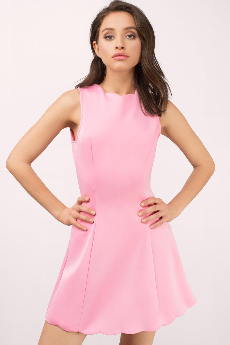 cute pink dress sleeveless dress pink scuba dress day dress