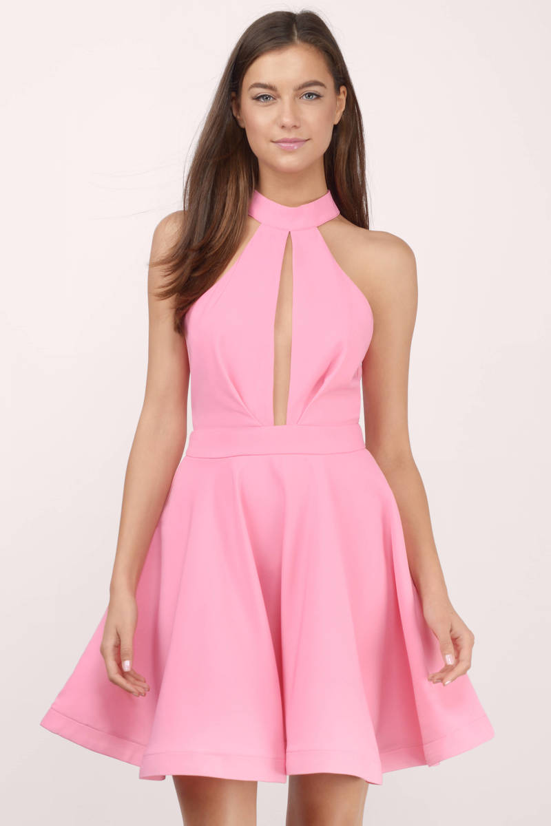 Midnight Lover Pink Skater Dress
