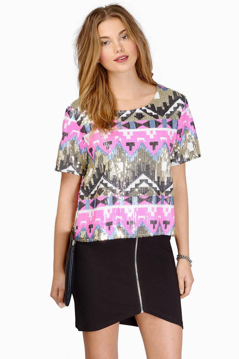 What The Aztec Pink Multi Sequin Crop Top
