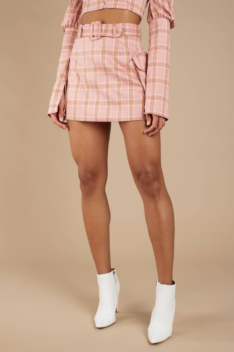 6c6da7e284 Pink Skirt - Cargo A Line Skirt - Pink Plaid Belted Skirt - $21 ...