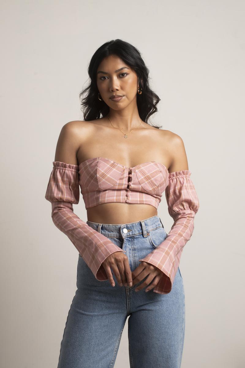 888ea022443 Pink Blouse - Off Shoulder Crop Top - Pink Plaid Bustier Top - $22 ...