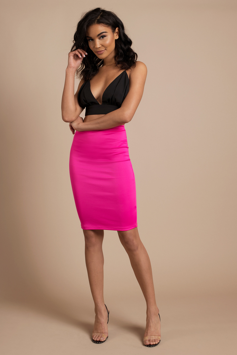 On My Own Pink Pencil Skirt