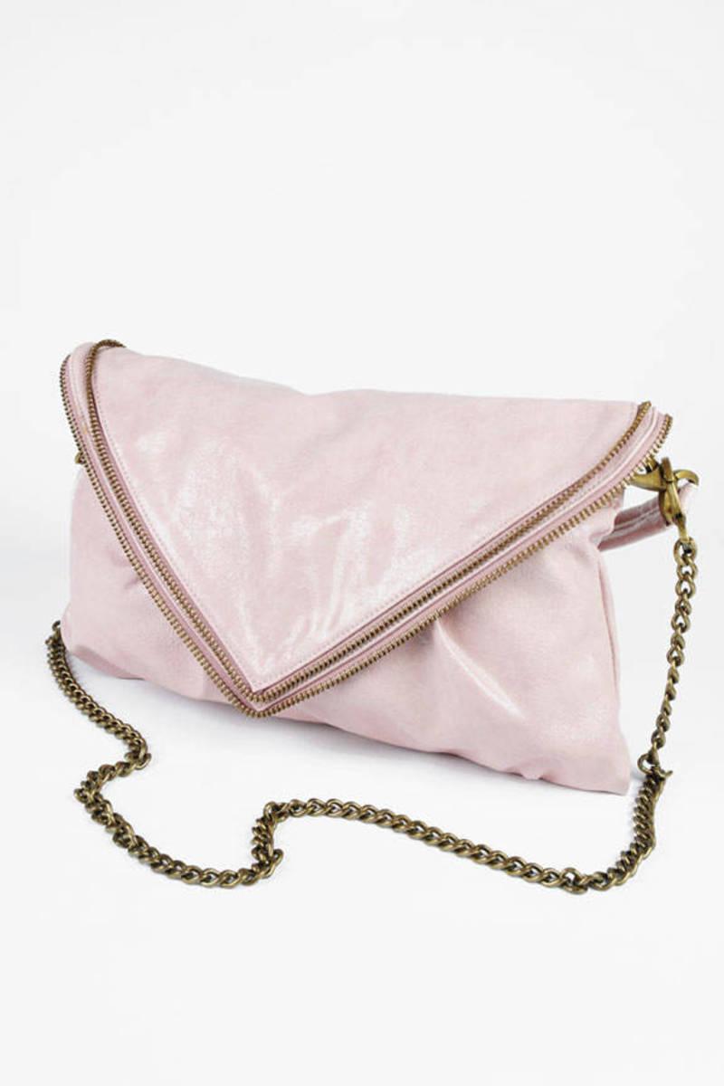 Pink Santogold Zipper Trim Envelope Bag