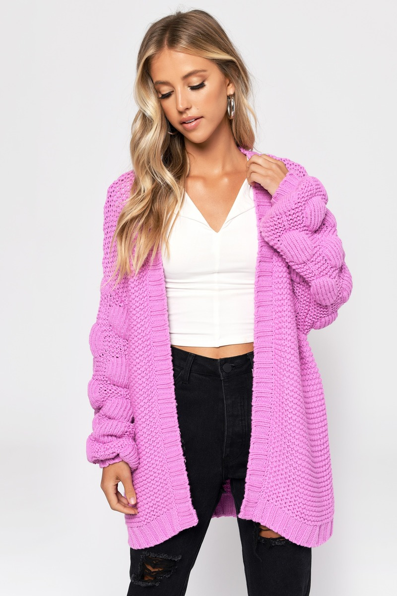 9a56ea34cc6 Pink Cardigan - Oversized Sweater - Pink Pom Pom Cardigan -  59 ...