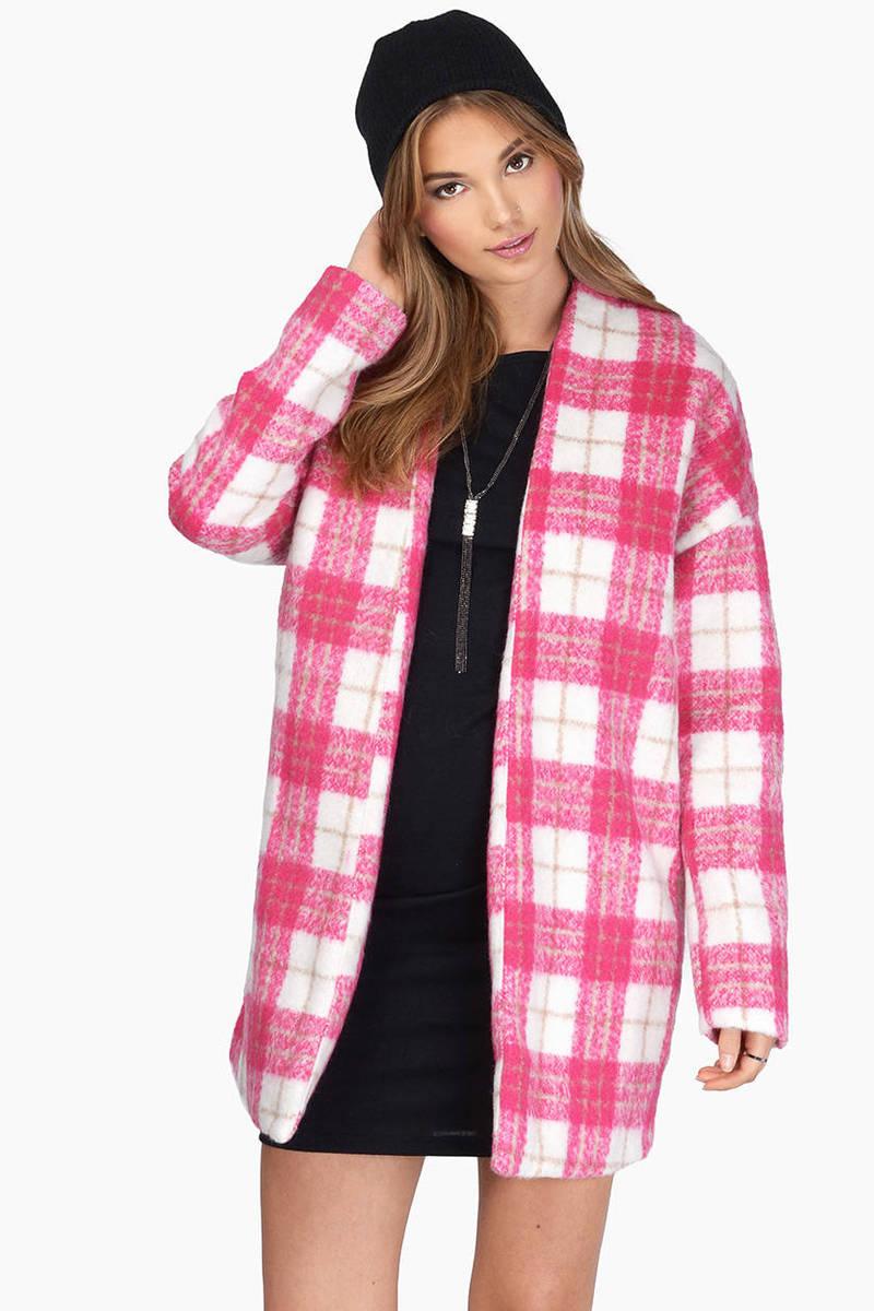 She's So Plaid Pink & White Wool Coat