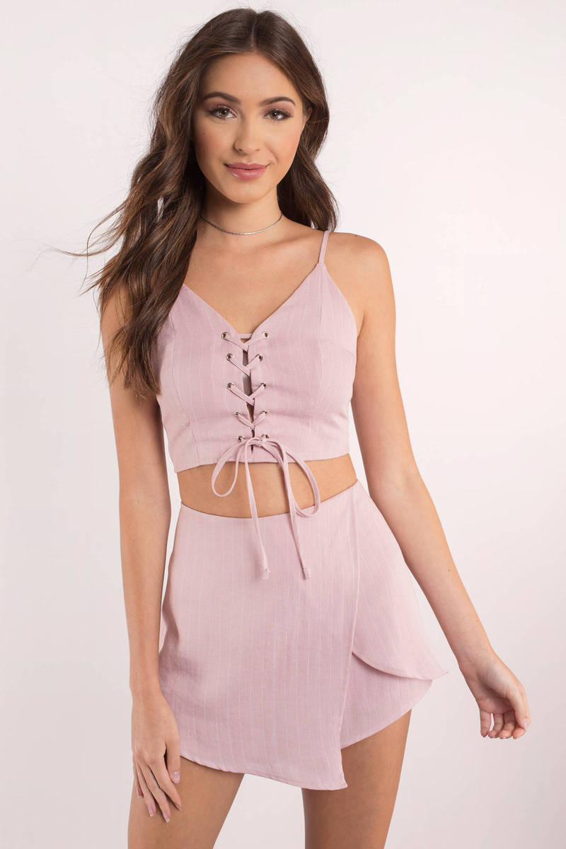 Without You Pink Lace Up Romper Set
