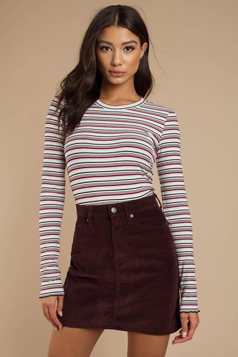 23851b87e50ce3 Burgundy Calvin Klein Skirt - Corduroy Mini Skirt - Burgundy Mini ...