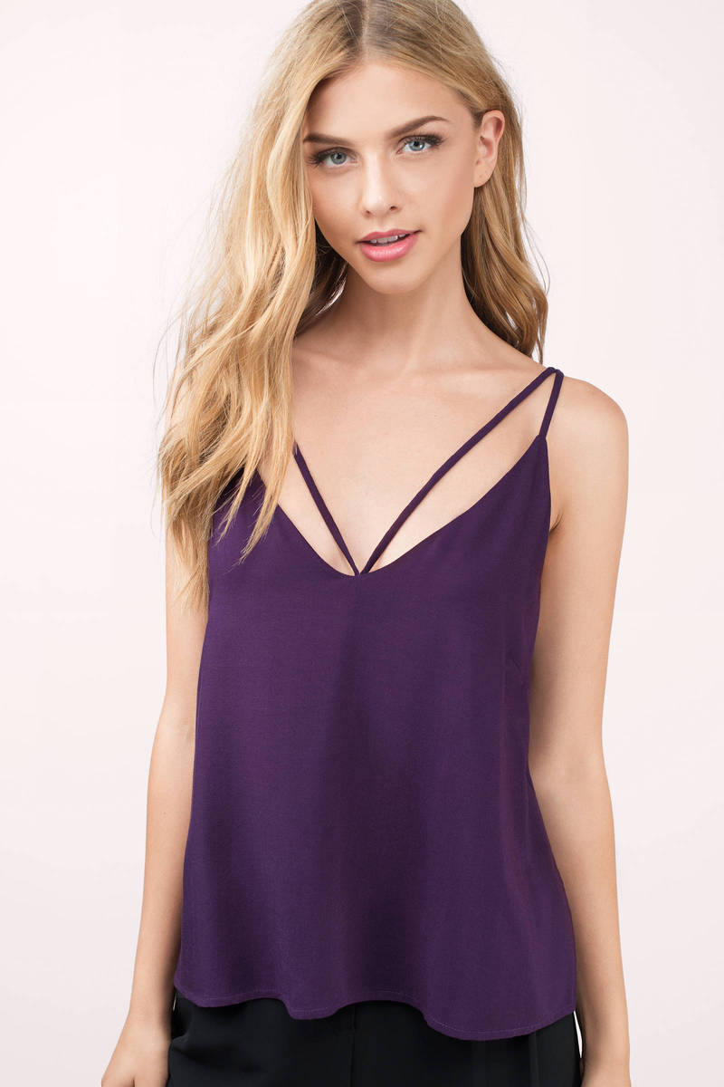 a34f4a8f207258 Purple Tank - Strappy Back Top - Open Back Tank - Purple Going Out ...