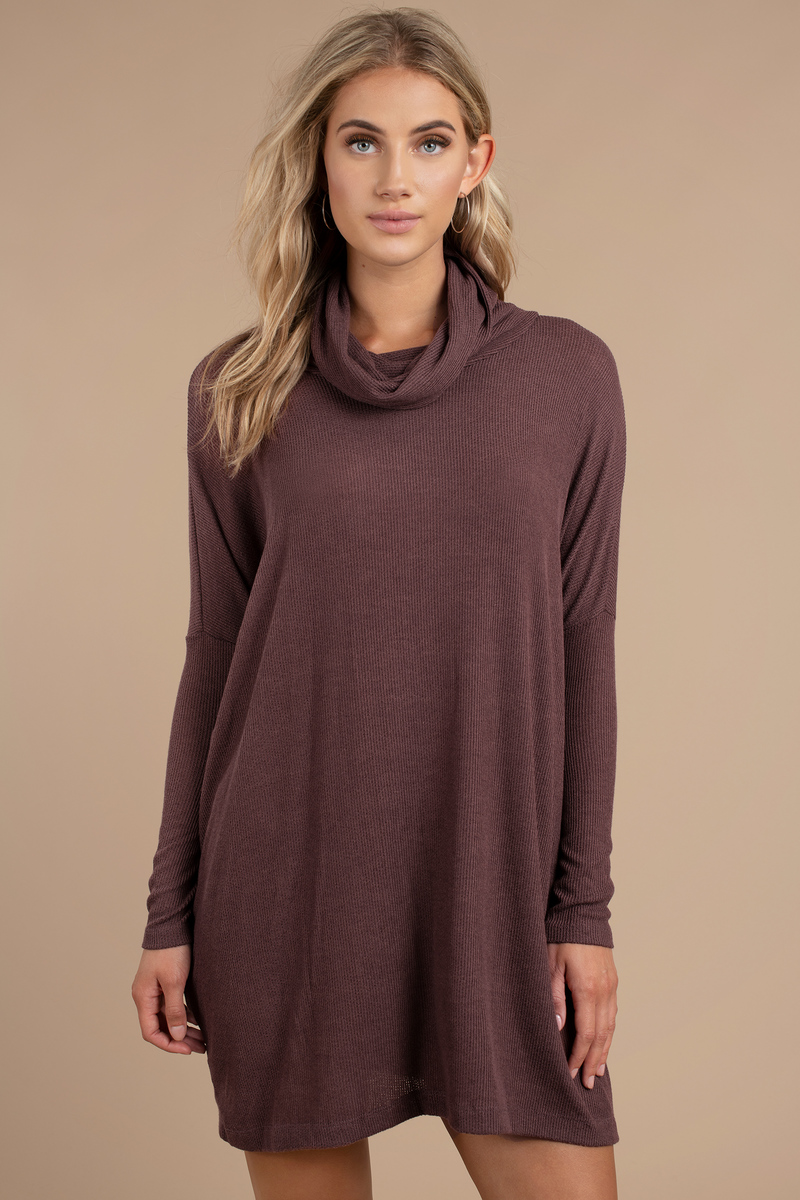 07f689c07430 Purple Shift Dress - Cowl Neck Dress - Purple Long Sleeve Dress ...
