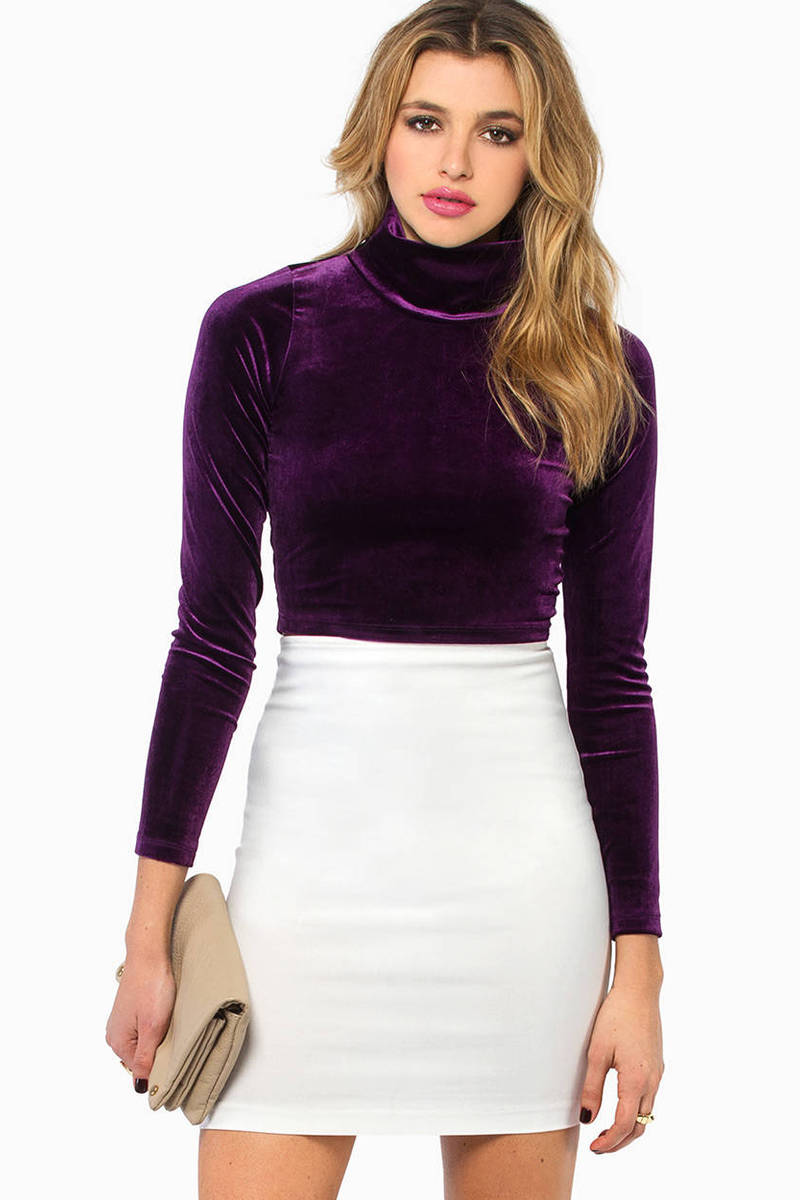 a7e3eee96c8c6 Purple crop top turtleneck top purple velvet top jpg 800x1200 Velvet crop  top