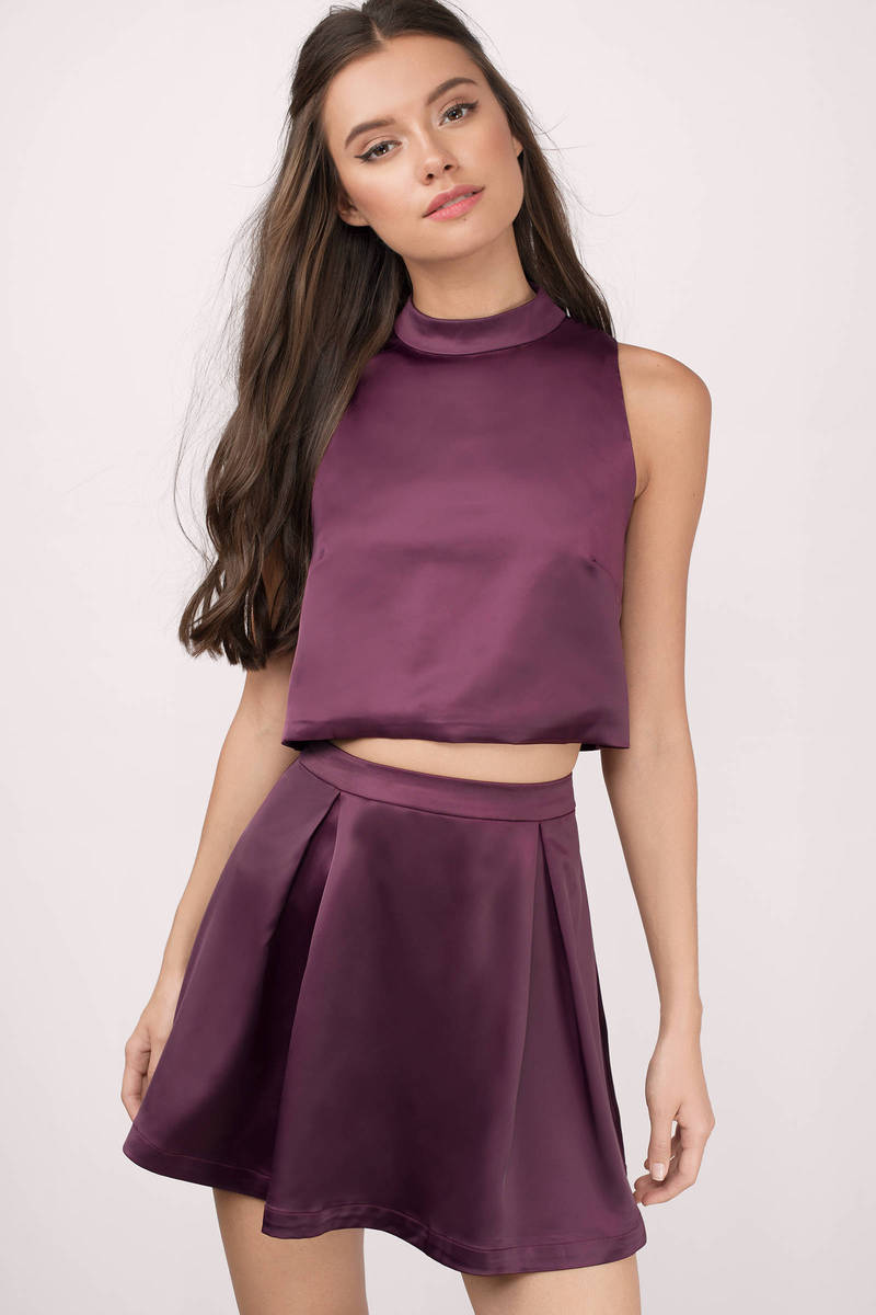 Plum Skater Dress - Dress Set - Pleated Dress - Pretty Purple Dress ...
