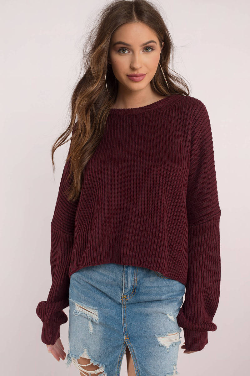 a4fe4f7b3c75b Trendy Wine Sweater - Chunky Sweater - Wine Relaxed Sweater - € 40 ...
