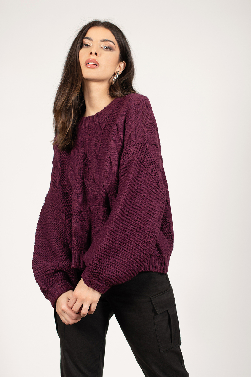 b1b0527e6 Burgundy Sweater - Slouchy Sweater - Burgundy Cable Knit Sweater - S ...