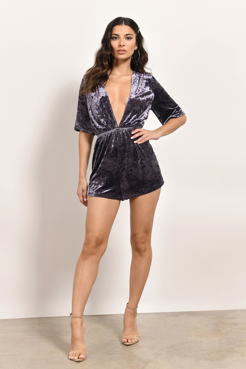 Kingston Plum Velvet Wrap Romper