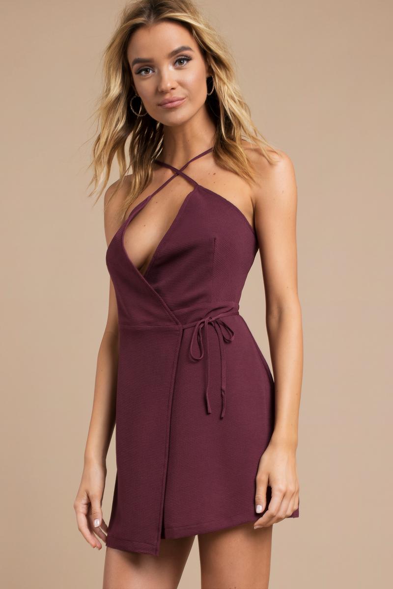 86b38273c53d Purple Wrap Dress - Front Tie Dress - Purple Cami Dress - $15   Tobi US
