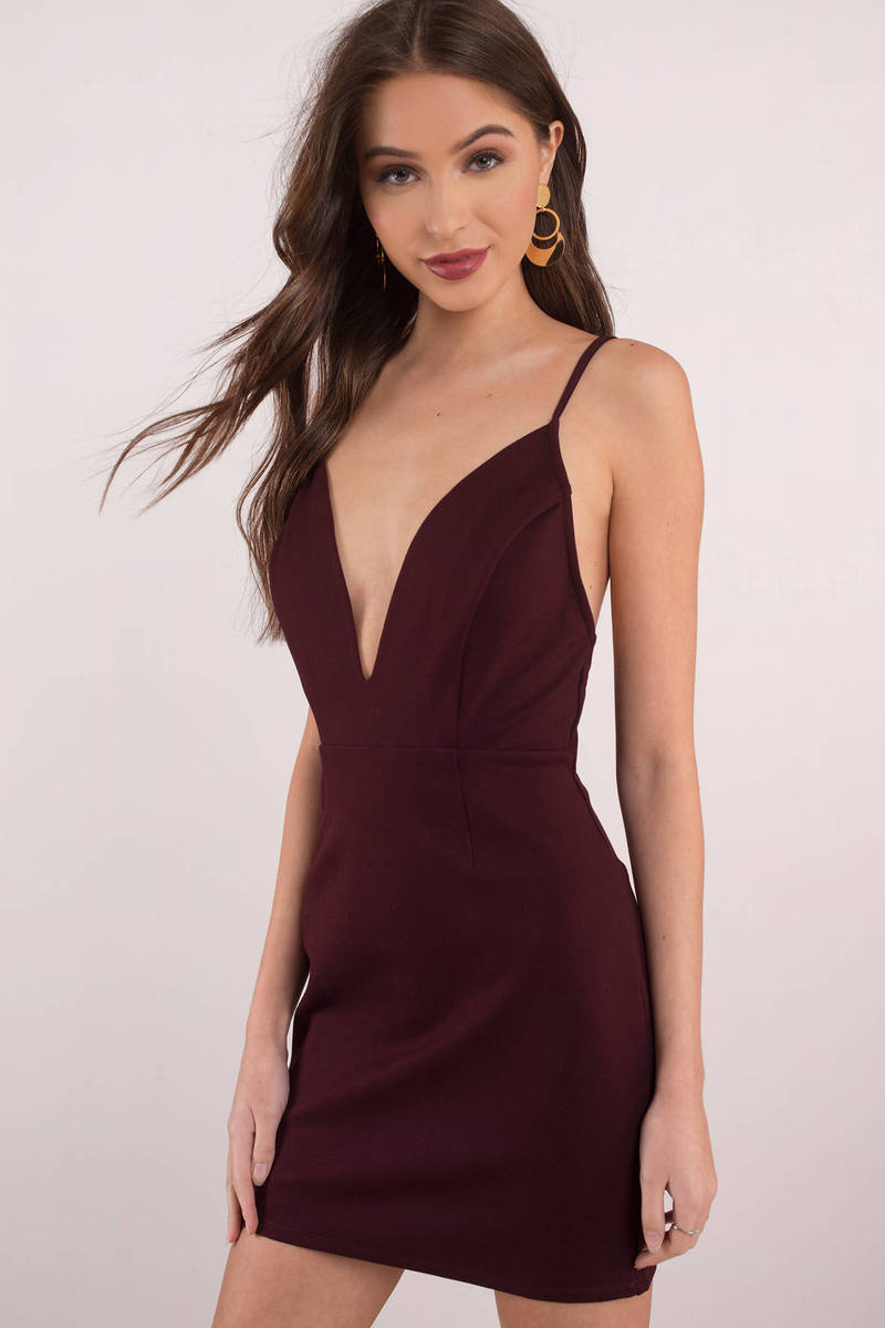 95692b169a Purple Bodycon Dress - Plunging Dress - Purple Formal Dress - $21 ...