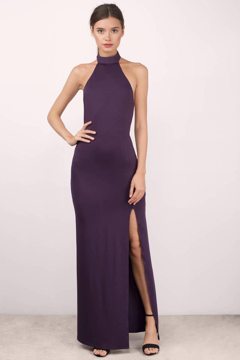 8a6f18465c3 Plum Maxi Dress - Backless Dress - Mock Neck Dress - Full Dress - S ...