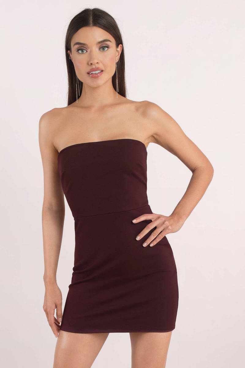 2ea34c21ae88c Cute Dress - Strapless Dress - Open Back - Plum Bodycon Dress - $15 ...