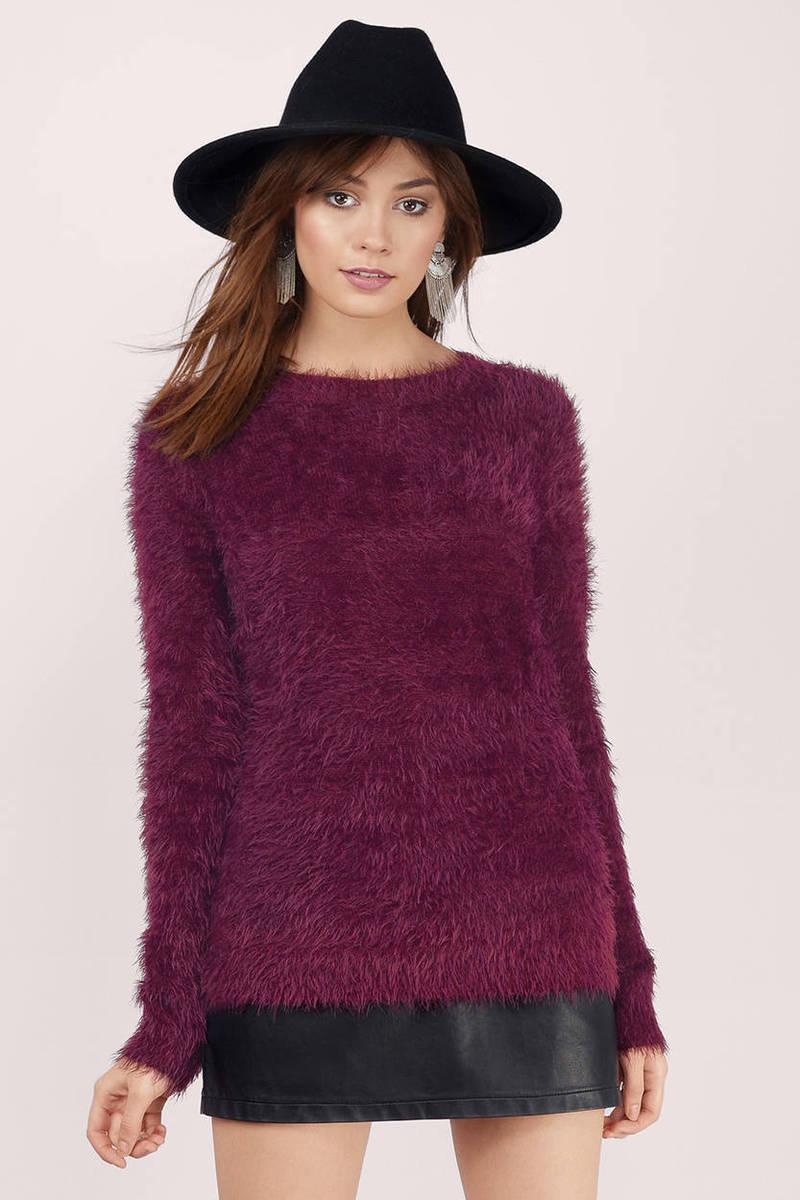 Plum Sweater - Purple Sweater - Eyelash Knit Sweater - Sweater ...