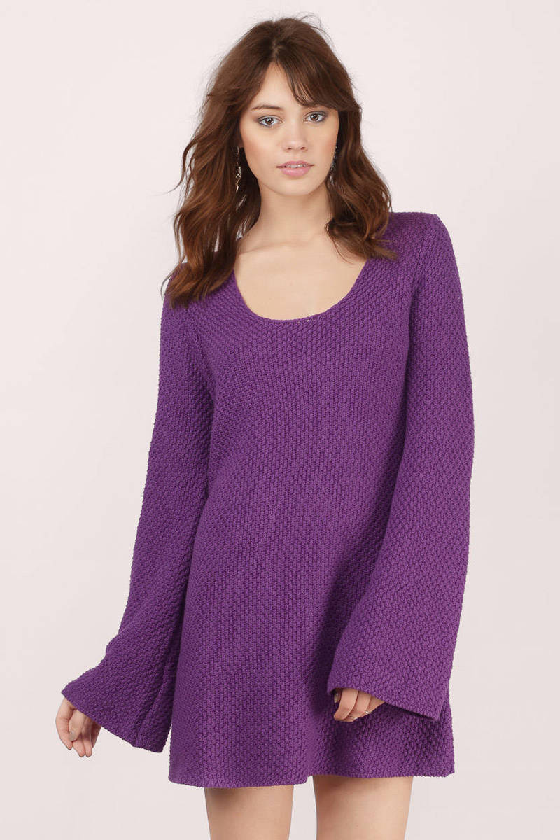 b254d2cad65 Plum Day Dress - Purple Dress - Sweater Dress - Purple Knit Dresses ...