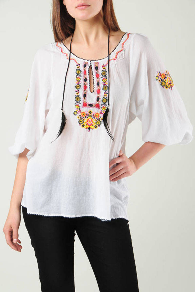 Pretty White Blouse Embroidered Blouse Joie White 3 4 Sleeve