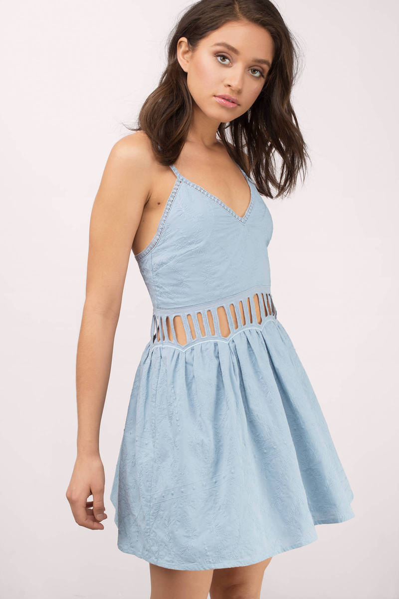 Powder Blue Dress - Cut Out Dress - Sleeveless Mini Dress - Skater ...
