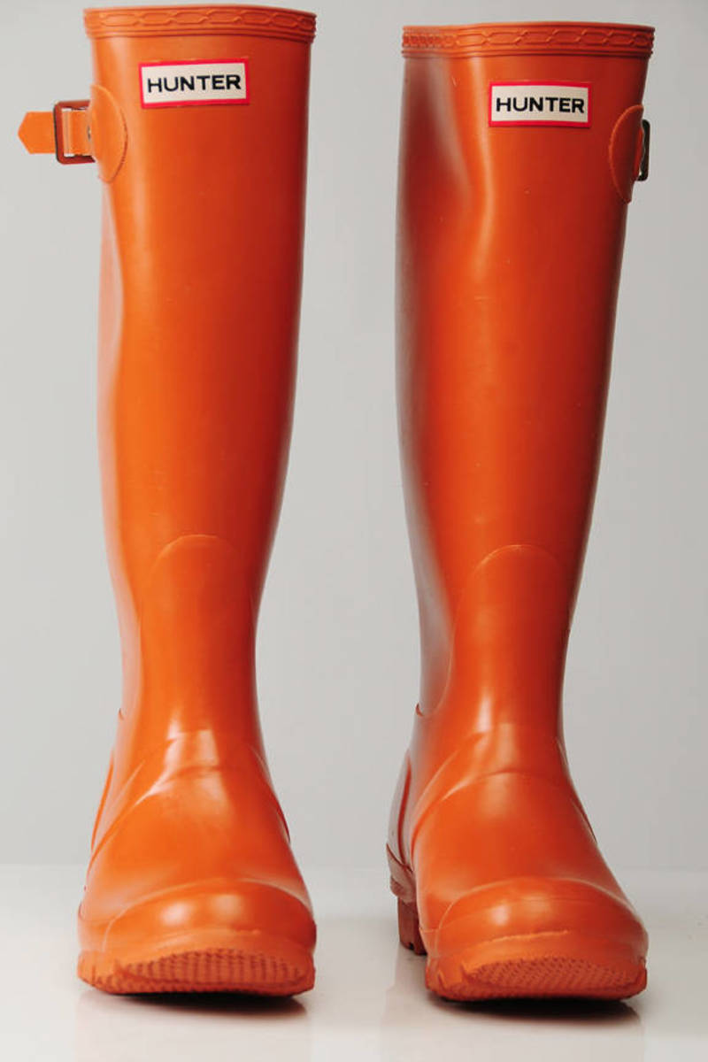 5832e20c2ed Orange Hunter Boots - Designer Knee High Boots - Bright Orange Rain ...