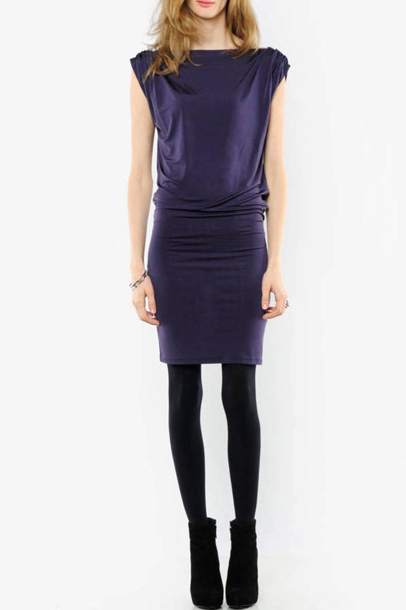 Purple Alice Olivia Mini Dress Drape Dress Purple Fitted Dress Tobi No