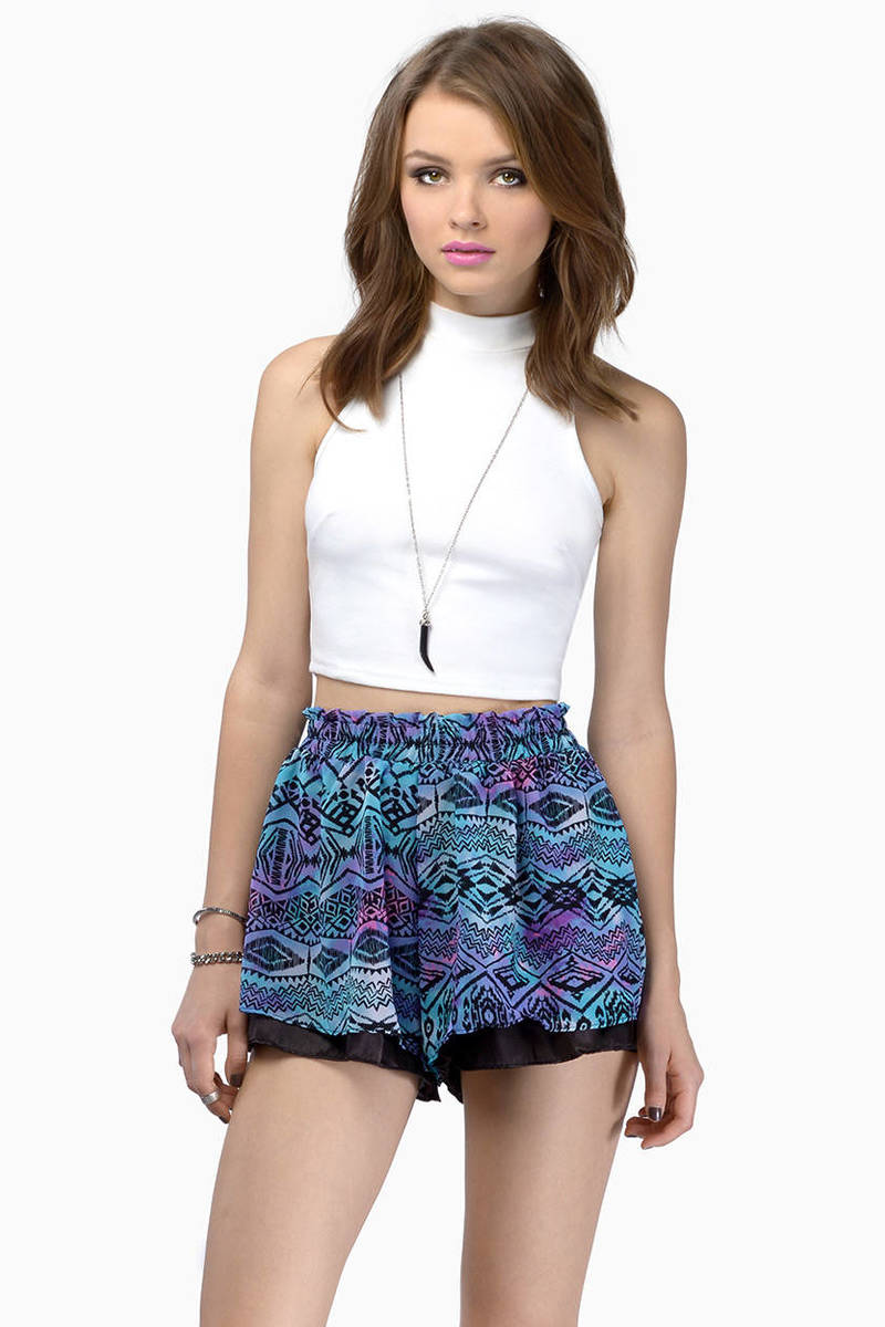 Aquatic Purple & Turquoise Geometric Print Shorts
