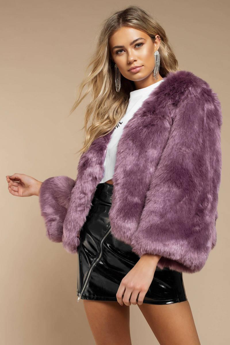 dd7c6c8b Purple Jacket - Short Faux Fur Coat - Purple Oversized Faux Fur Coat ...