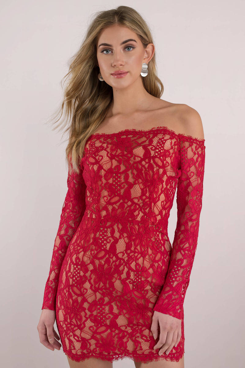 eb17beff9df3a8 Sexy Red Bodycon Dress - Banquet Dress - Red Off Shoulder Dress ...