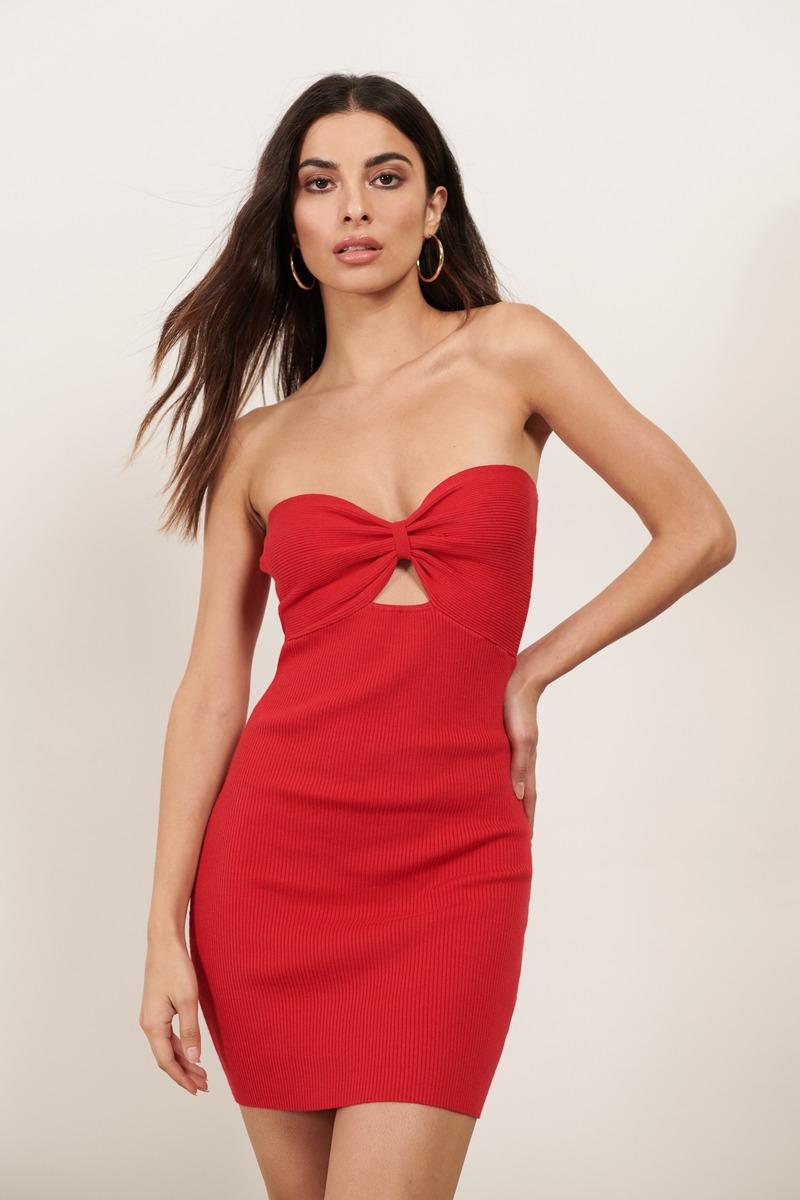 7c0d06e6f86ec Red Bodycon Dress - Ribbed Bodycon - Red Strapless Bodycon Dress ...