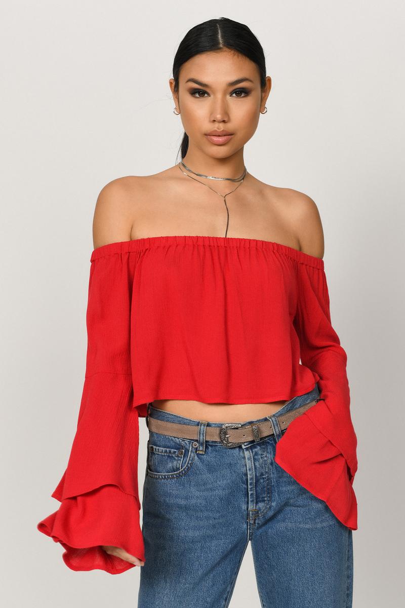6aec93f653b Trendy Red Crop Top - Layered Sleeves Top - Red Off Shoulder Crop ...