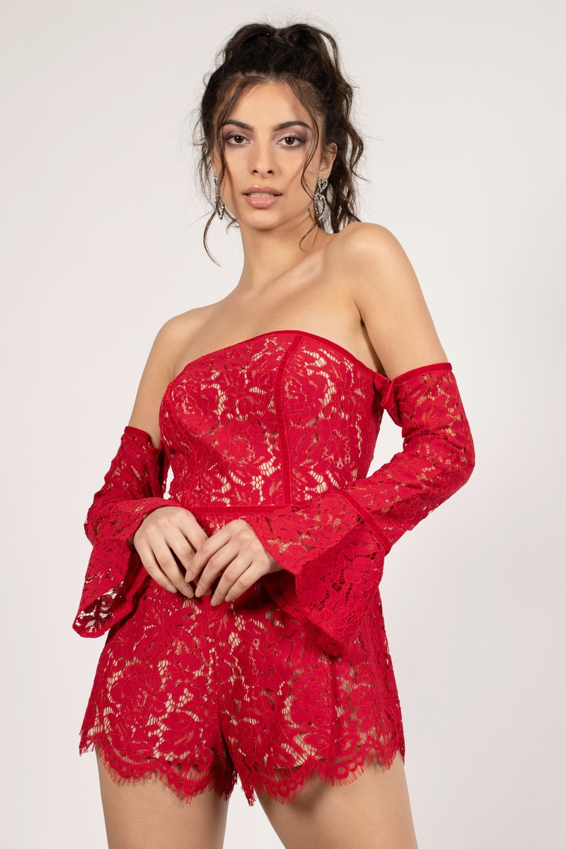b5a8879bc375 Red Romper - Long Sleeve Romper - Red Party Romper -  29
