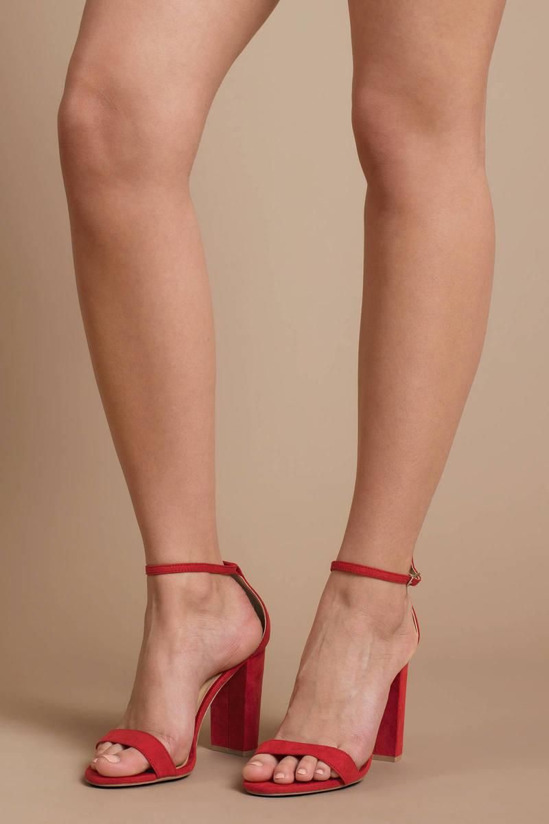 c3be06f74db Cute Red Heels - Holiday High Heels - Red Faux Suede Heels - C  105 ...