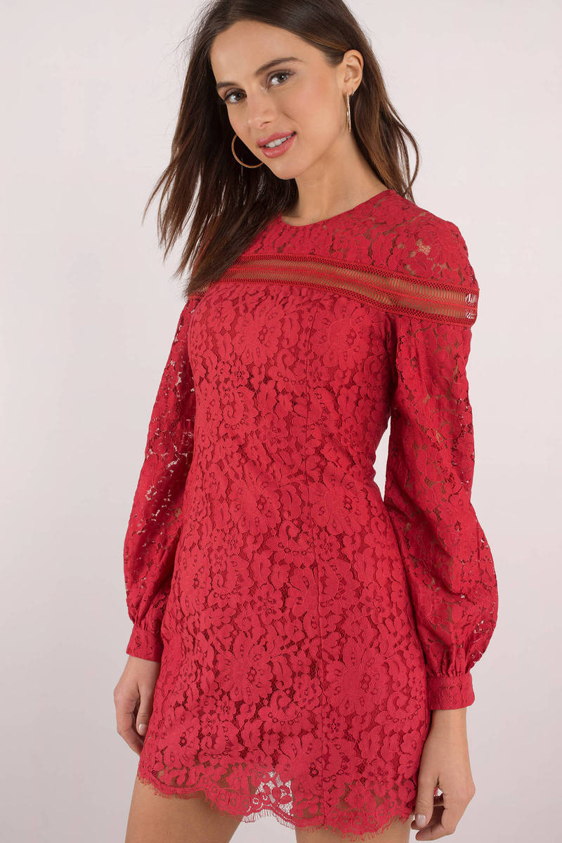 Chic Red Shift Dress - Long Sleeve Lace Dress - Red Zip Dress - $123 ...