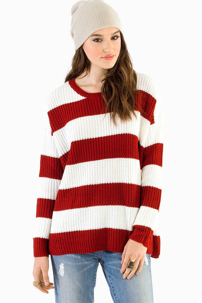 Cheap Red Sweater - Red Sweater - Knitted Sweater - $14.00
