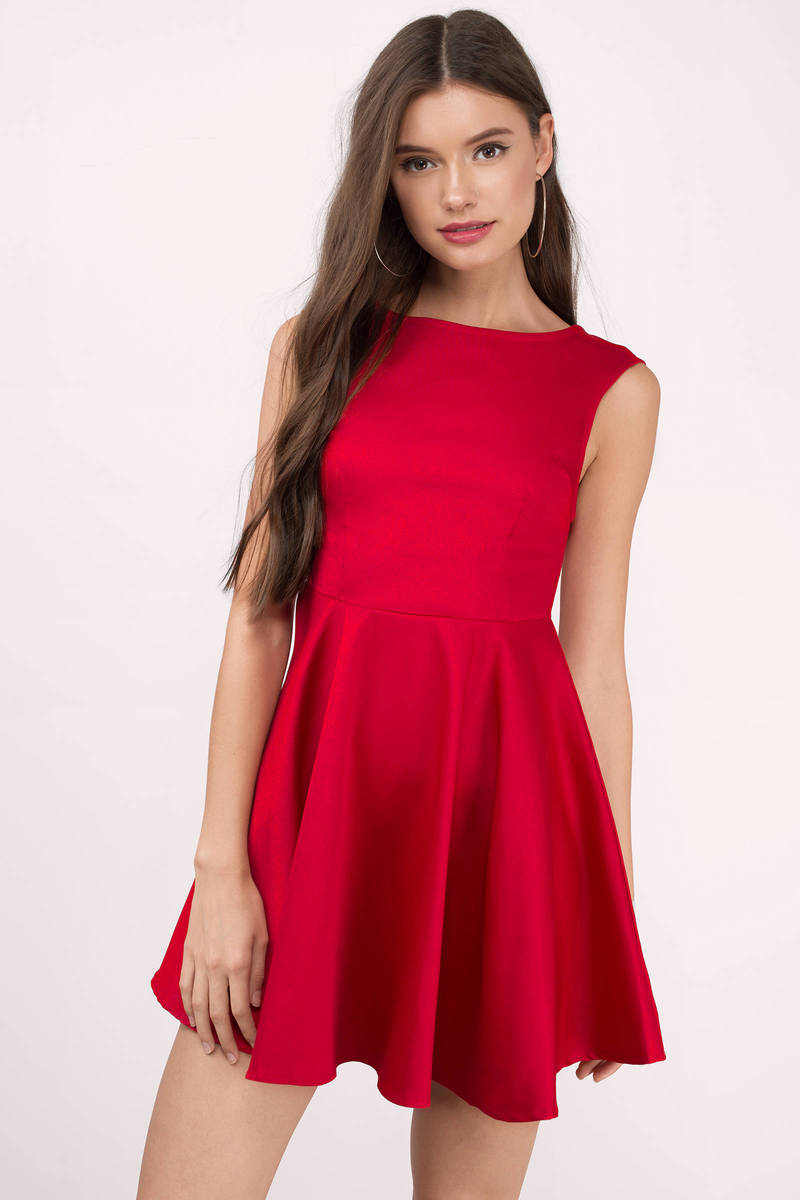 Celia Red Skater Dress
