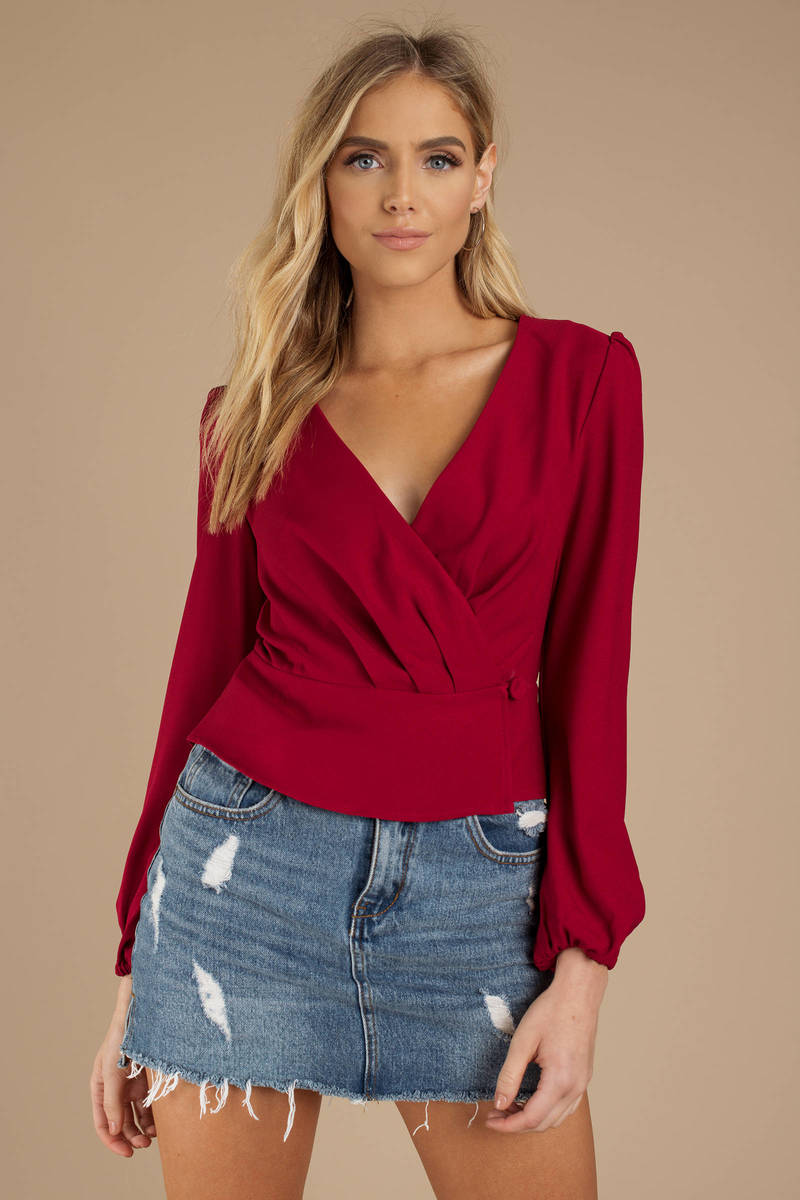11069c1f722d0 Red The Fifth Label Top - Pleated Top - Red Long Sleeve Wrap Top ...