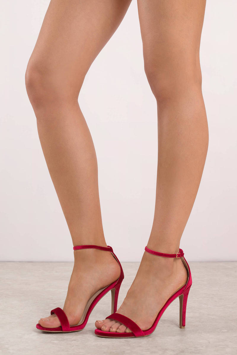 a2a81e184f6 Cute Red Heels - Velvet Stiletto Heels - Red Holiday Heels -  25 ...